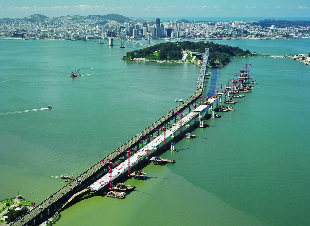 From 2002 to 2008, Kiewit/FCI/Manson, JV constructed the Skyway and E2/T1 segments of the new San Francisco-Oakland Bay Bridge east span replacement. The Skyway Segment project included twin 1.2-mile-long bridges. The E2/T1 Foundations project involved constructing the foundations for the new self-anchoring suspension (SAS) bridge.