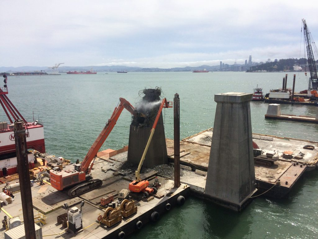 Crews complete mechanical demolition of the above-water portion of the piers.