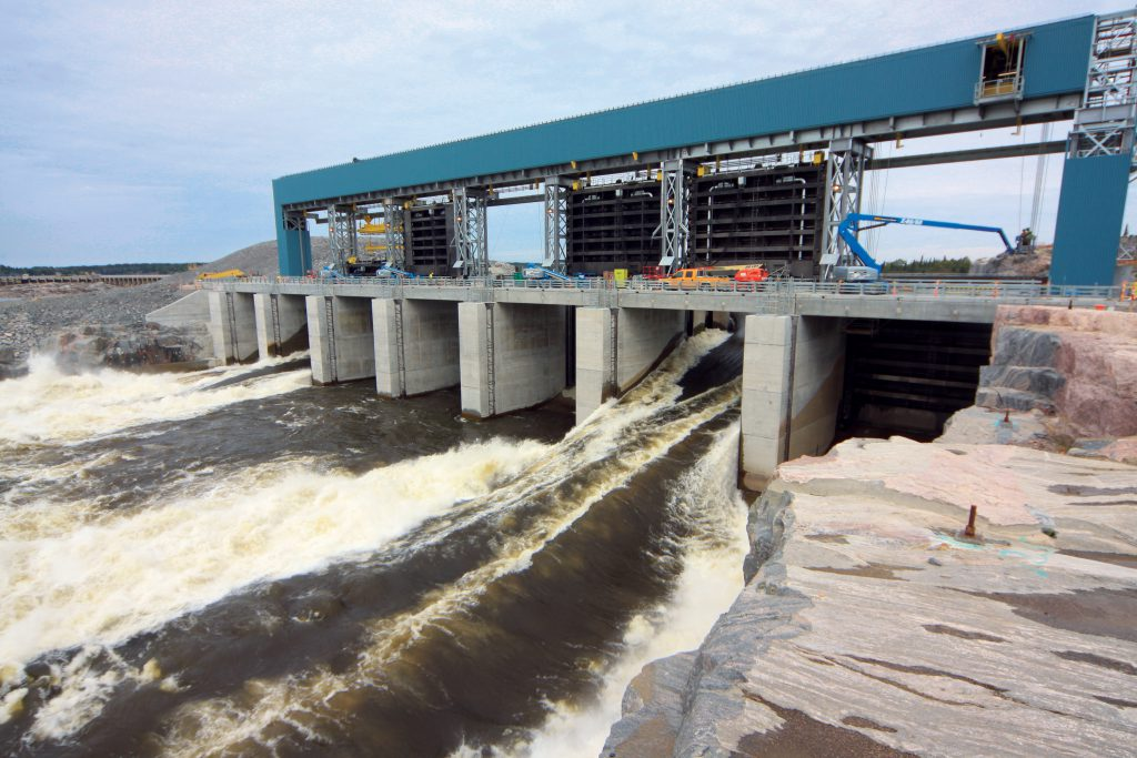 70 cubic meters per second of water per gate flows through the newly constructed Pointe du Bois Spillway.