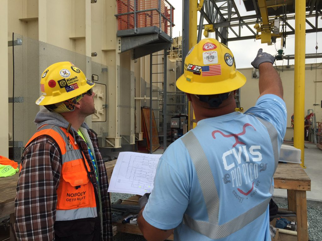 Instrumentation fitters at the Pio Pico Energy Center discuss access plans and how they're going to prevent dropped objects from occurring during their operation.