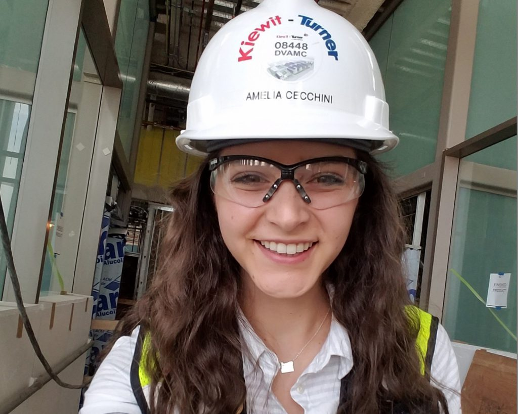 "Amelia Cecchini (Oregon State University) said that as an engineer intern on the U.S. Department of Veterans Affairs Eastern Colorado Medical Center project in Colorado, ""I was thrown right into everything from the start and have been given so many opportunities to prove what I'm capable of. My mentors have done an incredible job of helping me learn new things every single day."""