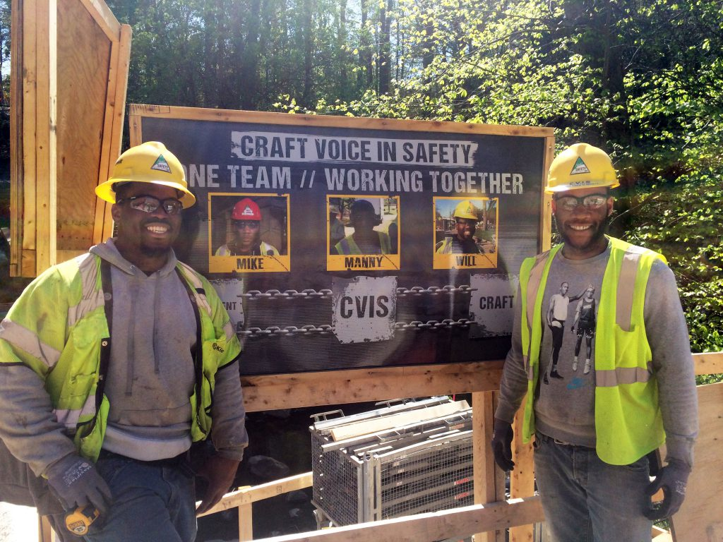 CVIS members Willie Stringfield and Mike Davis on the Carroll Avenue Bridge Rehabilitation project in Takoma Park, Md.