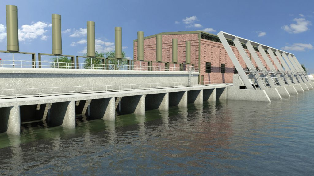 This artist's rendering of the 17th Street bypass gates and pump station depicts the permanent gated storm surge barriers and brick façade structures replacing the temporary closure structures at each of the three outfall canals.