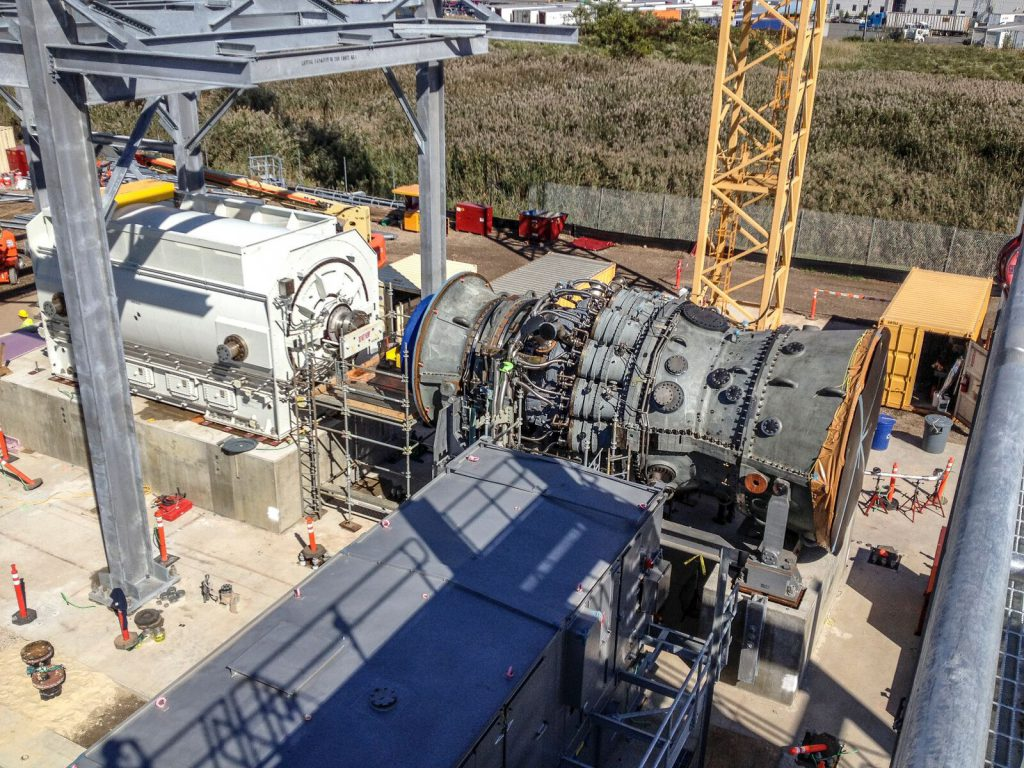 One of two GE frame 7FA.05 combustion turbine generators (CTG) installed at Woodbridge.