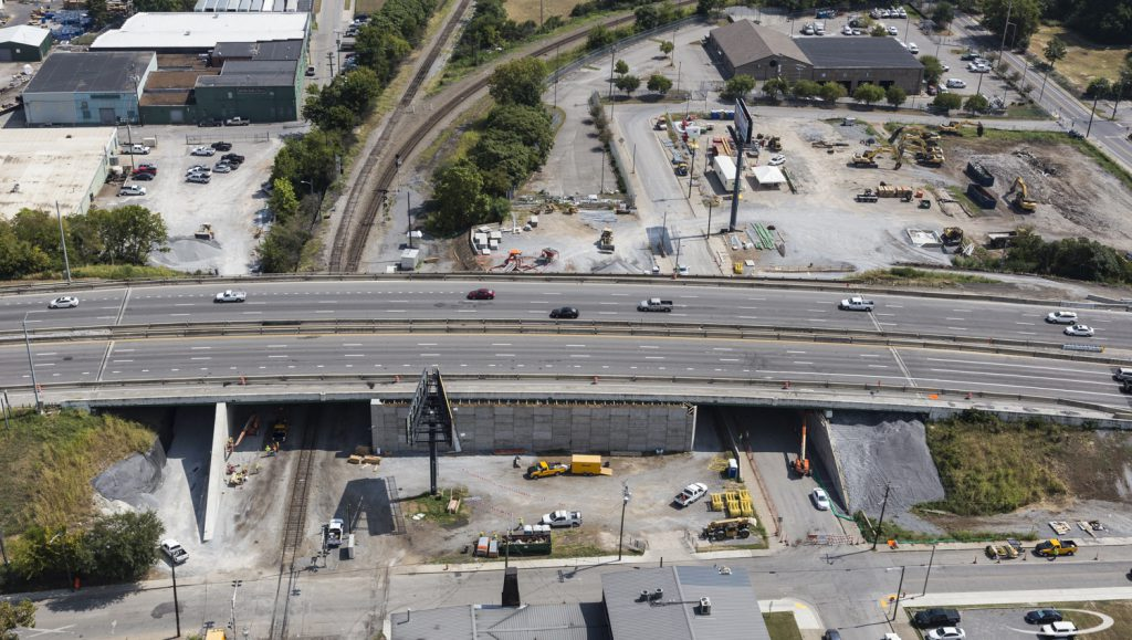 Aerial view of the Clinton Street/CSX location. Innovative construction design turns an existing six-span structure into two simple span bridges.