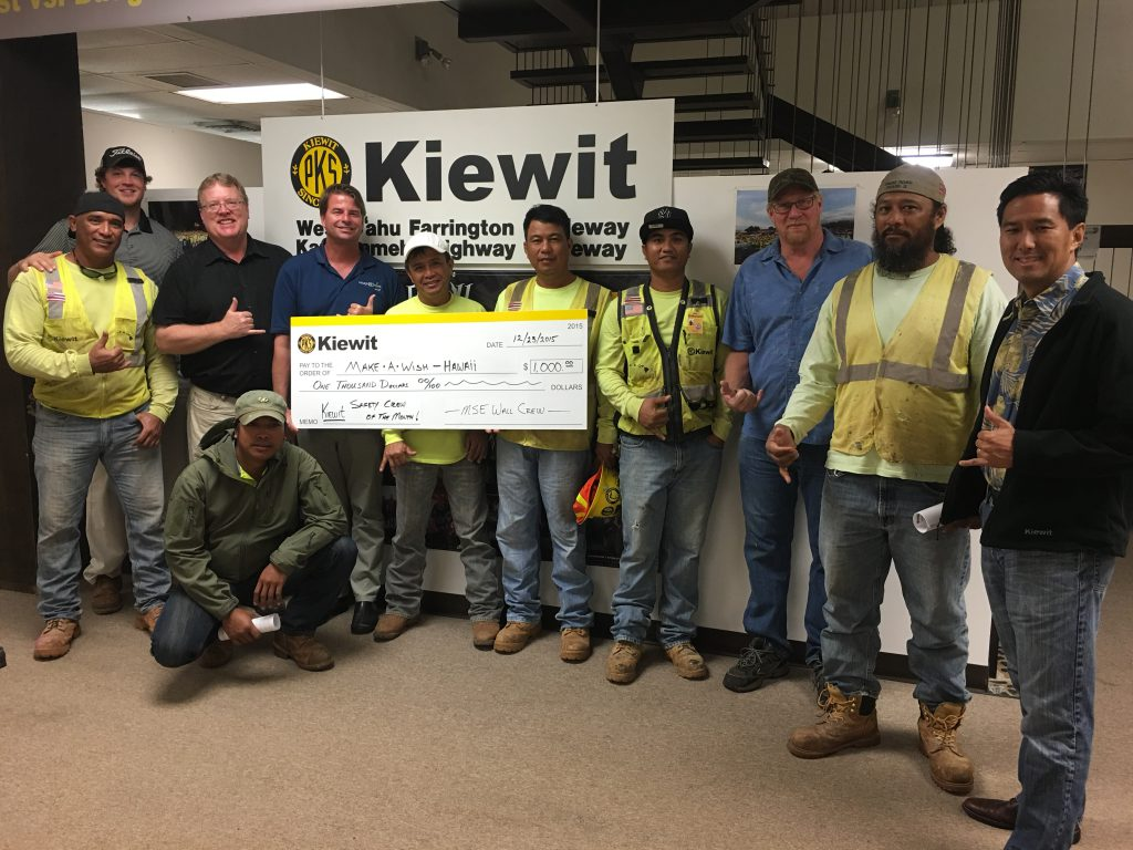 On the Hawaii Guideway project, CVIS members are involved in the selection of a safety crew of the month, which the project then supports with $1,000 to donate to a local charitable organization of the crew's choosing.