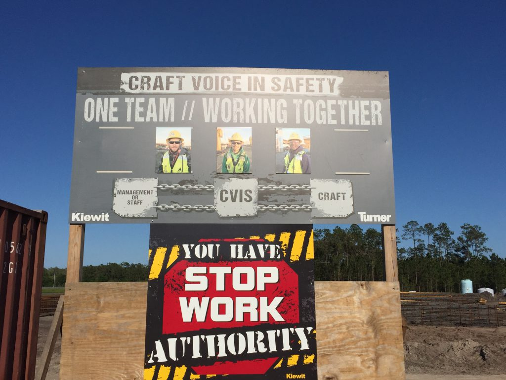 Prominent signage on job sites helps craft identify members of the CVIS committee.